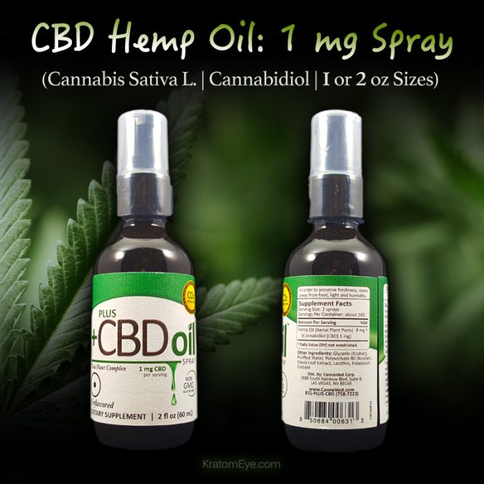 1mg CBD Spray - Cannabis Sativa L - Cannabidiol - 1 oz or 2 oz