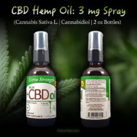 3mg CBD Spray - Cannabis Sativa L - Cannabidiol - 2 oz