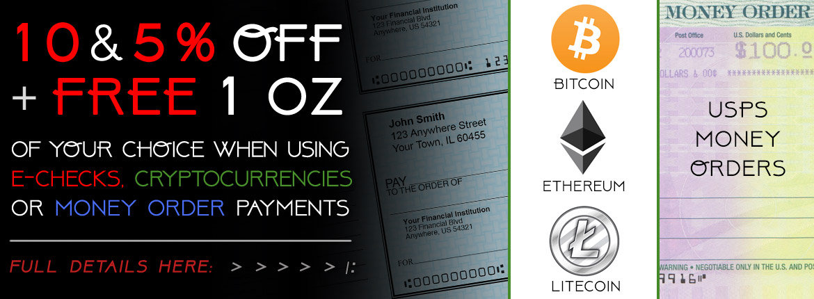 10% or 5% OFF + Free 1 oz for All Orders Using Temporary Alternative Payment Methods