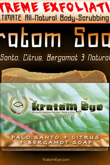 EXTREMELY Exfoliating, Moisturizing, All-Natural Kratom Soap with Palo Santo, Citrus, Bergamot Essences & Natural Oils