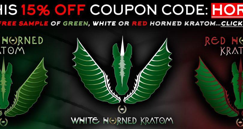 15% OFF + Free Sample of Green, White or Red Horned Kratom!